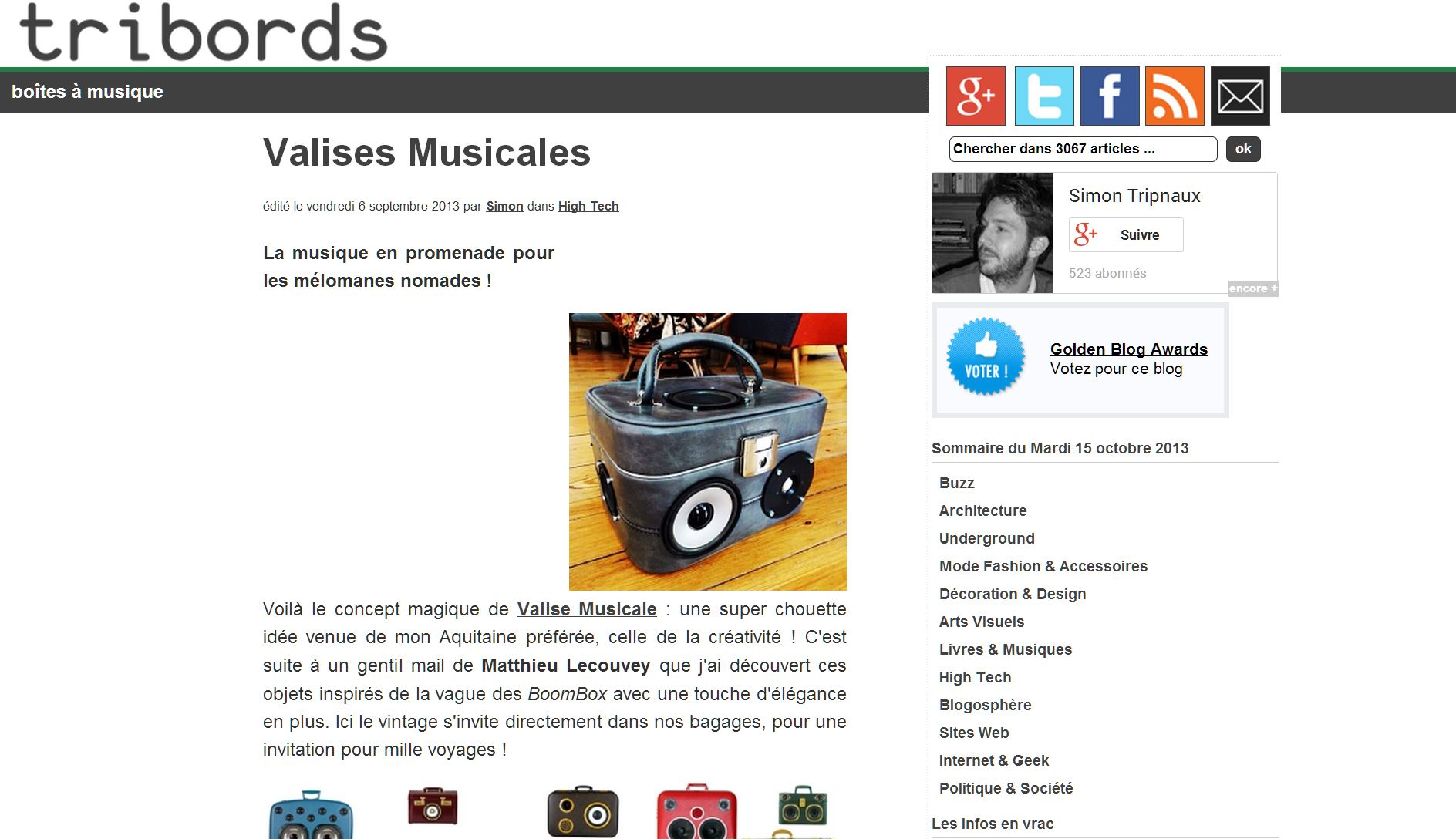Valise Musicale chez Tribords